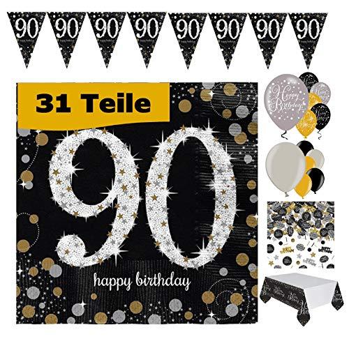Feste Feiern Geburtstagsdeko 90. Geburtstag 31 Teile Deko-Set Luftballon Wimpel Girlande Konfetti Serviette Tischdecke Gold Schwarz Silber metallic Party-Set