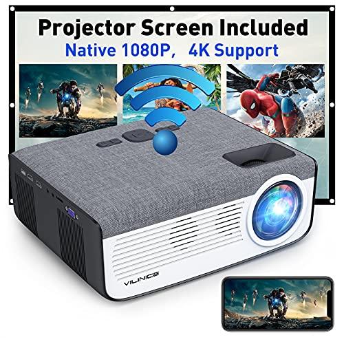 WiFi Bluetooth Projector, Vili Nice Native 1080P HD Support 4K Video...
