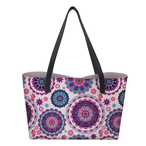 Hiser Handtaschen für Frauen Mädchen Damen, Mandala Bedruckte Kunstleder Umhängetasche Casual Einkaufstasche Geldbörse Große Kapazität Shopping Umhängetaschen (Dunkelviolett)