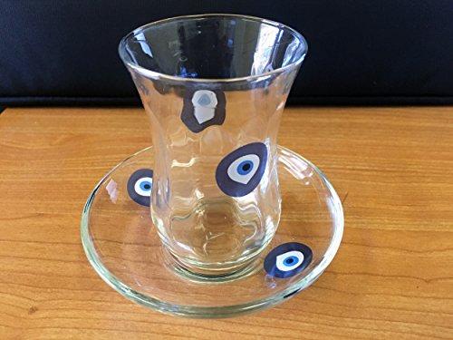 Juego de 6vasos de té mal de ojo Nazar diseño té turco Cristal Cay Bardagi tazas de UK