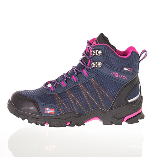 Trollkids Trolltunga Chaussures de randonnée imperméables pour enfant Taille M - Bleu - Bleu marine/magenta., 40 EU