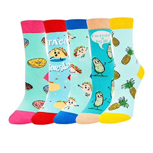 Zmart Girls Food Socks Funny Taco Pineappple Donuts Cucumber Socks 5 Pack