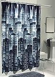 EXCELL Cortina de Ducha Home Fashions Cityscape de PEVA, Resistente al Agua para recámara Principal, recámara de los niños, recámara de Invitados, 70 x 72 Pulgadas, Color carbón