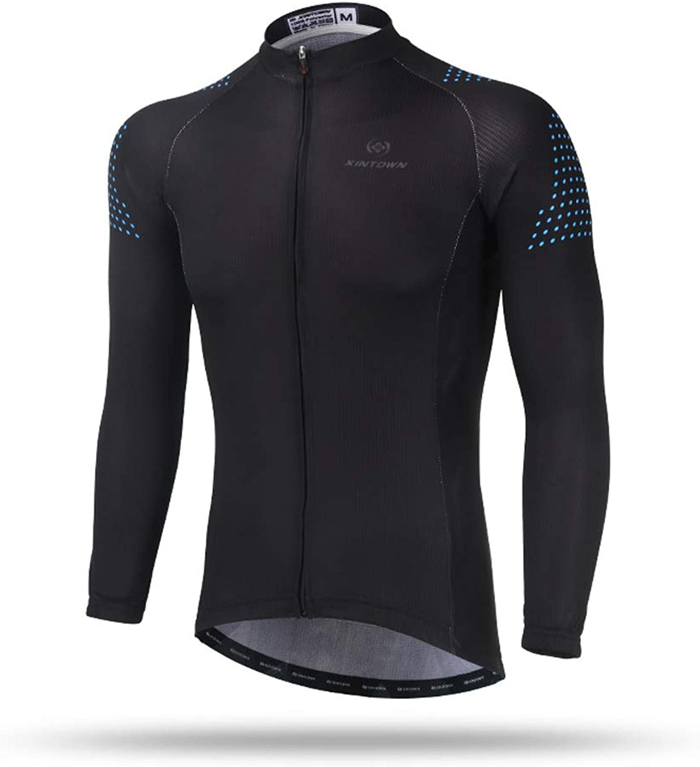 Pinjeer Pure Black Men's High Elasticity Men's Only Shirt Cycling Jersey Clothing Breathable Spring Autumn Outdoor Road Bike Riding Jersey Men Long Sleeve Shirt (Size   M)