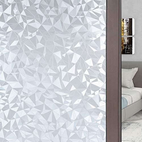 FEOMOS Sichtschutzfolie für Fenster Statische Fensterfolie Milchglasfolie Selbsthaftend Rautenmuster Dekor Folie für Büro Wohnzimmer 90cm x 200cm
