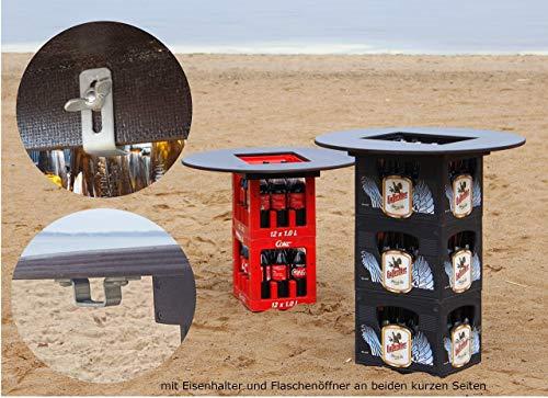 Bierkastentisch Bierkasten Tisch Bierkastenaufsatz Partytisch Tischaufsatz Stehtisch Bistrotisch inklusive Flaschenöffner und Kistenhalter 78 cm Durchmesser (ohne Getränkekisten)