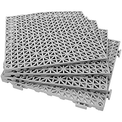 "12 Pack 12"" x 12"" Interlocking Rubber Bathroom Flooring Tiles Non-Slip Splicing Waterproof Mat Modular Interlocking Cushion Mat for Drain, Deck, Pool, Patio, Balcony, Shower, Kitchen, Yard (Gray)"