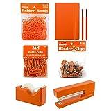 JAM PAPER Complete Desk Kit - Orange - Stapler, Tape Dispenser, Journal, Le Pens, Rubber Bands, Paper Clips & Binder Clips - 7/Pack