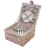 Mendler Picknickkorb-Set für 4 Personen, Picknicktasche + Kühlfach, Porzellan Glas Edelstahl, beige