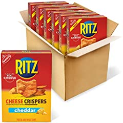 Six 7 oz boxes of RITZ Cheese Crispers Cheddar Chips Cheddar cheese cracker chips baked with real cheese and a delightfully crispy texture These light and airy, bite-sized cheddar cracker chips are great for any snacking occasion These oven baked chi...