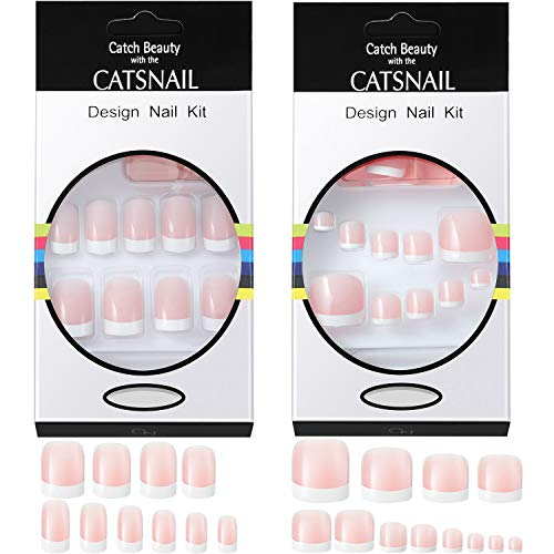 96 Pieces French False Nails and Toe Nails Kit Artificial Acrylic Full Cover French Nails Tips Pink White Fake Fingernails, Includes 4 Sheets Nail Adhesive Tabs