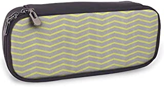 Print Pencil case Grey and Yellow Modern Geometrical Triangles Zig Zags Wavy Modern Image Print Smooth Surface Light Grey and Mustard