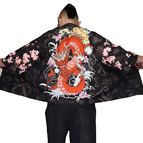 G-like Herren Sommer Kimono Cardigan – Traditionelle Japanische Kleidung Haori Kostüm Taoistische Robe Langarm Jacke Chinesischer Stil Umhang Nachthemd Bademantel Nachtwäsche für Männer (Drache)