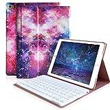 iPad Keyboard Case 9.7 for iPad 2018 (6th Gen), iPad 2017(5th,Gen), iPad Pro 9.7, iPad Air 1/2 Slim Leather Folio Cover with Wireless Bluetooth Keyboard (Galaxy)