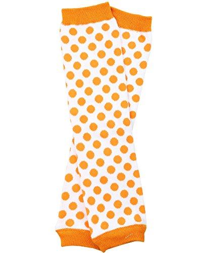 white and orange polka dot baby leg warmers