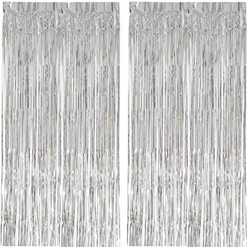 EKKONG 2 Stück Lametta Vorhänge,Folie Vorhang,Hintergrund Fringe Vorhänge für Geburtstag Hochzeit Party,fotoautomat Zubehör Foto Requisiten für Weihnachten 1m x 2m (mehrere Farben) (Silber)