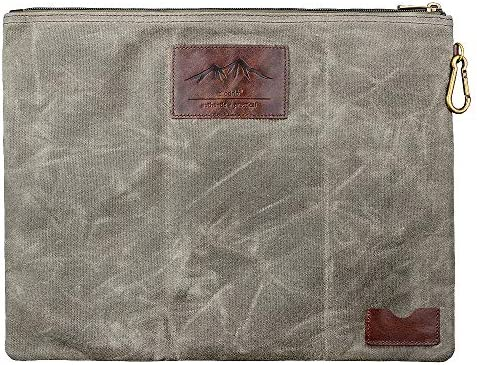 Water Resistant Zipper Document Holder Fits Manila Folder Rustic Large Waxed Canvas Pouch with product image