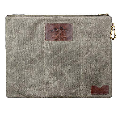 Water Resistant Zipper Document Holder, Fits Manila Folder, Rustic Large Waxed Canvas Pouch with Full Grain Leather, Inner Pockets, Carabiner, Hold Your Books, A4 Handouts, Travel Accessories. Olive.