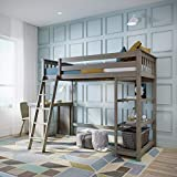 Max & Lily Solid Wood Twin-Size High Loft Bed with Bookcase + Desk, Clay
