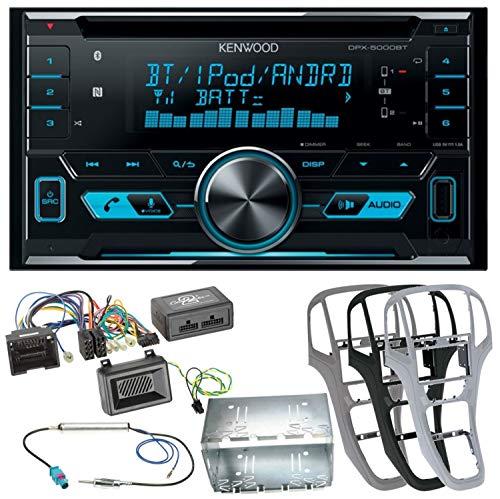 Kenwood DPX-5000BT Autoradio mit Bluetooth Freisprecheinrichtung CD USB MP3 AUX In Einbauset für Opel Astra J, Farbe der Radioblende:Titan-Grau