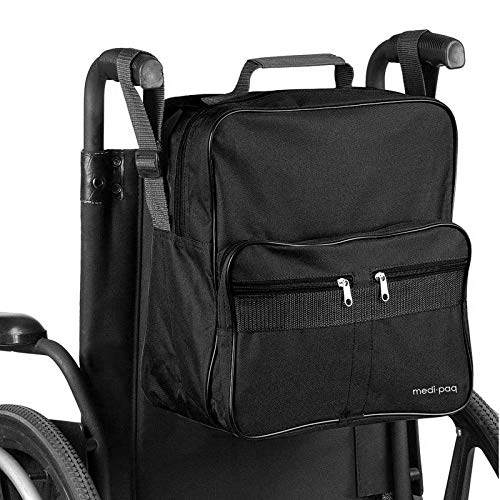 Medipaq Deluxe Wheelchair Bag - [NEW Upgraded Version] Attaches To The Handles To Provide Useful and Convenient Storage (Black Wheelchair Bag)