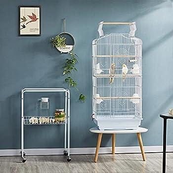Yaheetech Cage Oiseaux Portable sur Pied Volière Toit Ouvrable Design 46 x 35.3 x 92 cm Blanche Perchoirs 8 Portes Plateaux Excréments Amovibles Métal avec Support Détachable