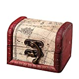 Baost 1Pc Vintage Metal Lock Wooden Storage Box Jewelry Treasure Organizer Chest Case Gift Box