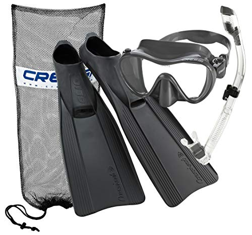 Cressi Clio Full Foot Fin Frameless Mask Dry Snorkel Set with Carry Bag, Titanium, US 4-5 | EU 37/38