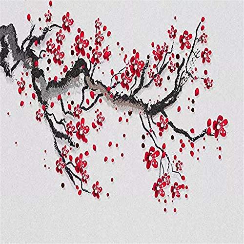 XHXI Schöne chinesische Art rote Pflaume Baum Kunstdruck große Größe Foto Wallpaper Poster für zu Hause Wohnzimmer Wanddekoration fototapete 3d Tapete effekt Vlies wandbild Schlafzimmer-350cm×256cm