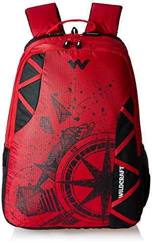 Wildcraft Polyester 35 Ltrs Red and TJ School Backpack (WC...