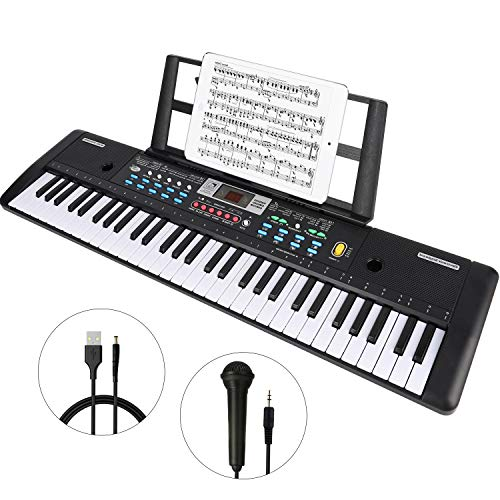 Best Bargain WOSTOO Keyboard Piano, 61 Key Portable Keyboard with Built- In Speaker, Microphone, Pia...