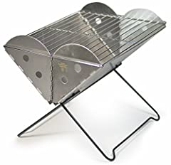 Stainless steel grill folds to 1.5 inches thick and fits in a backpack; can be used as a fire pit; comes in regular or mini sizes (sold separately) Regular size features 13 x 10-inch grilling area for up to 6 servings; mini features 9 x 6.75-inch gri...