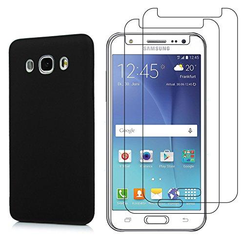 Funda para Samsung Galaxy J3 2016 2015 + Cristal Templado Protector de Pantalla, Ultra Fina Silicona Transparente TPU Carcasa Protector Caso Cover, Negro
