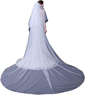 Bridal Veils Cut Edge Tulle Bridal Veil Long Cathedral Wedding Accessories 2T 3M White Ivory With Crystal Free Comb Front ...