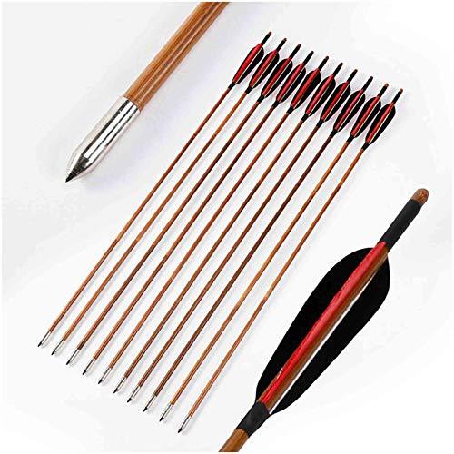 K66KY Flechas de Tiro con Arco - Flechas de bambú - 12pcs 32.6 Pulgadas de bambú de 32.6 Pulgadas de Flecha con fletching Negro Turquía Pluma para Arco Tradicional Longbow & RECURVE Boy