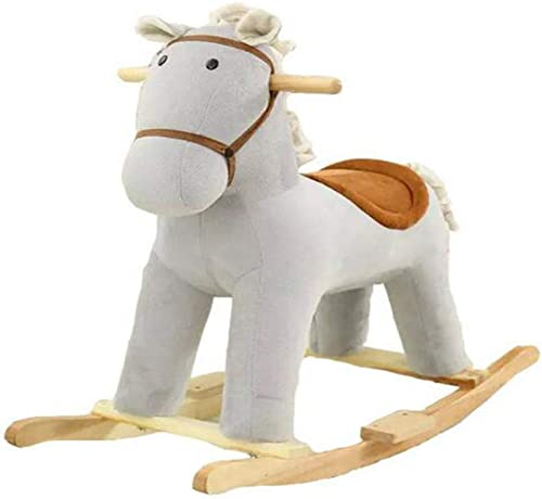Rocking Horse Holz Schaukelpferd,Kind Schaukelpferd Für 1-6 Jahre Plüsch Schaukelpferd Baby Spielzeug Rocker Schaukelstuhl Indoor Outdoor Geburtstagsgeschenk,grau