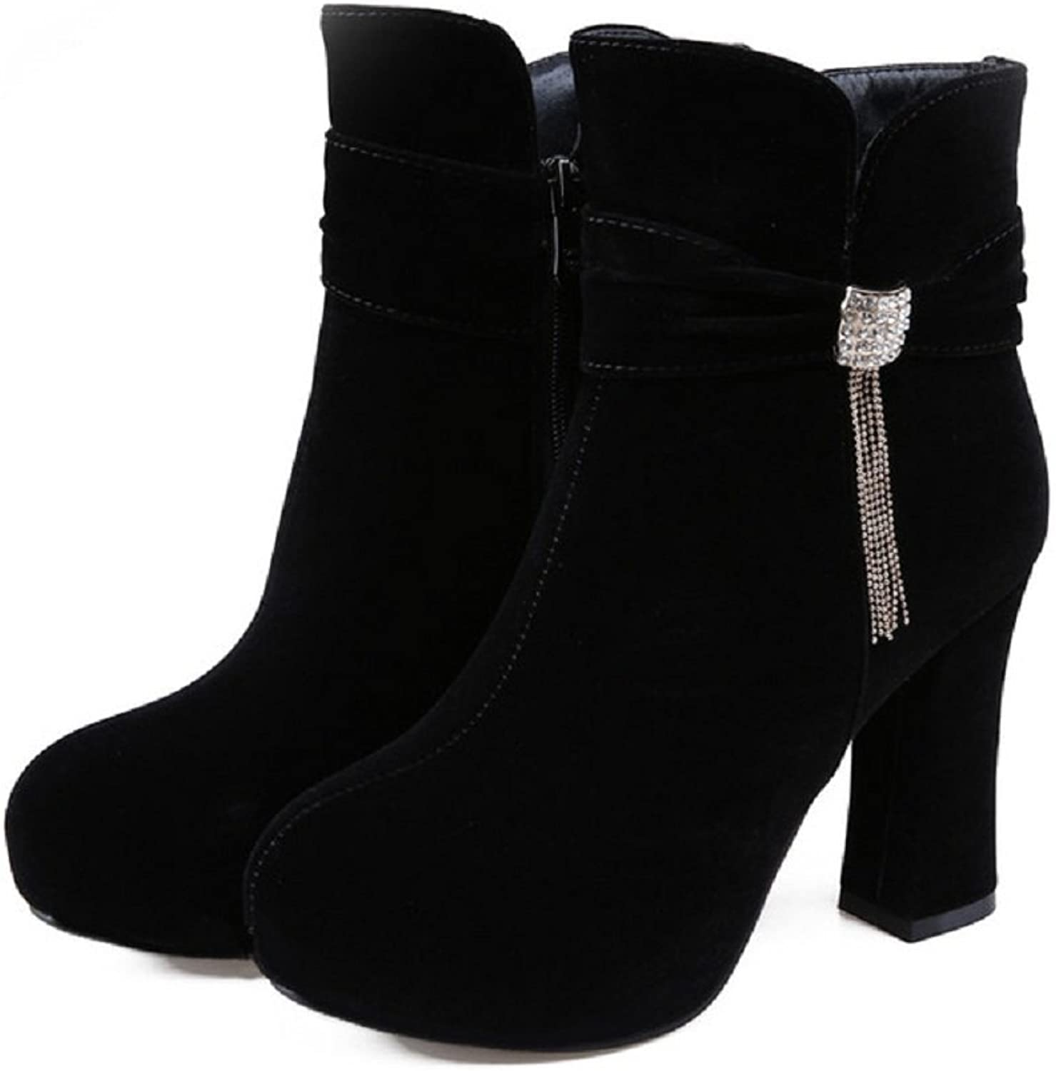 CLAKION Lucksender Round Toe High Heel with Tassel Pendant Ankle Boot Women