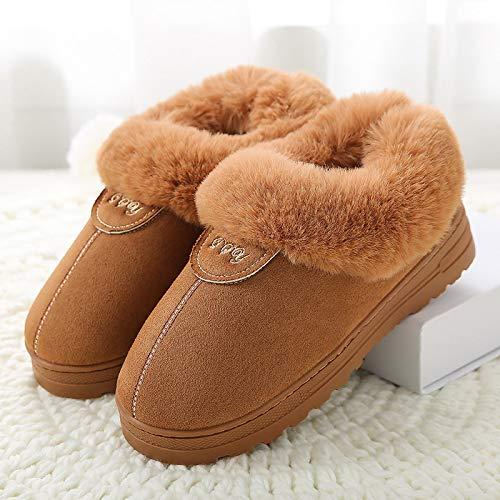Hausschuhe Slipper Pantoffeln Damenwinter Warme Baumwollpantoffeln Weiblich Dick Plus Size Samt Herren Indoor Home Hausschuhe Warm Paar Schuhe Frau 44 Kaffee