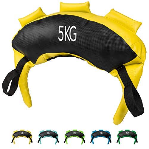 POWRX Bulgarien Gewichts Bag I 5 kg, 8 kg, 12 kg, 17 kg, 22 kg I Kunstleder Sandsack für Functional Fitness (5 kg Schwarz/Gelb)