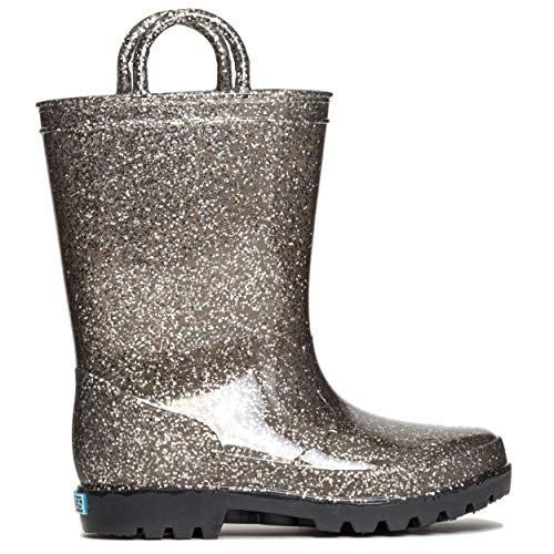 ZOOGS Kids Glitter Rain Boots for Girls and Toddlers Black Silver, 9 Toddler