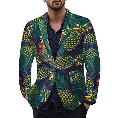 TWISFER Anzug Herren Langarm Ananas/Blätter/Blumen Drucken Hawaiihemd Sakko Casual Herbst Und Winter Feiertag Mit Bequemen Mode Bequeme Regular Fit Coat Jacke
