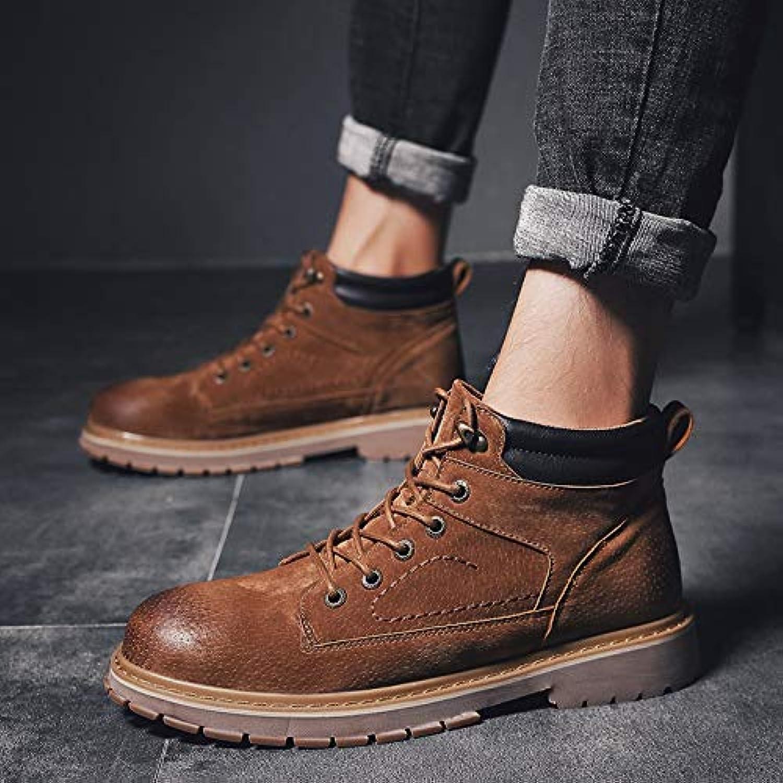 Shukun Herren Stiefel Winter Martin Stiefel Herren Wild High-Top Stiefel warme Baumwolle Dicke warme Stiefel Tooling