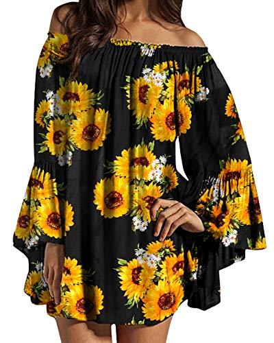 ZANZEA Damen Langarm Schulterfrei Kleid Blumen Oversize Oberteil Carmen Mini Kleider 07-als blid2 Medium