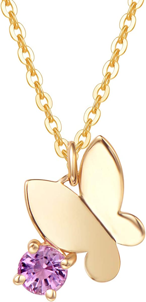 FANCIME 18k Solid Yellow Gold Cute Flying Butterfly 0.31ct Natural Pink Sapphire Pendant Necklace Dainty Fine Jewelry Gifts for Women, 16