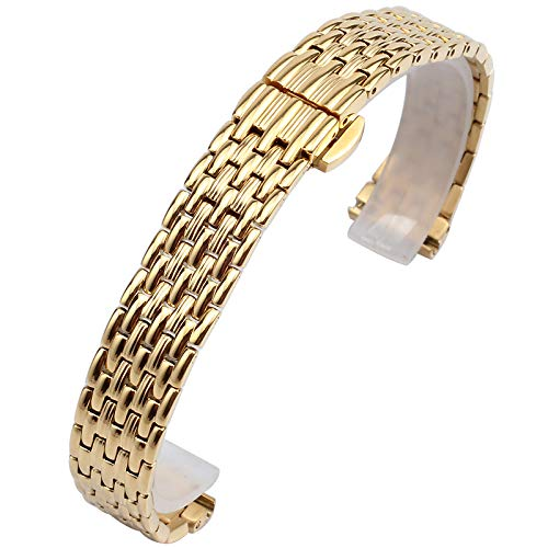 FJXJLKQS Reemplazo de La Correa de Reloj, 12 Mm, 14 Mm, 16 Mm, 18 Mm,20 Mm Accesorios de Reloj Banda de Reloj Pulsera de Hombre Pulsera de Acero Inoxidable de Repuesto de Plata,Gold-20mm