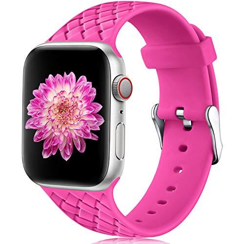 Oielai Cinturino Compatibile con Apple Watch 38mm 40mm, Impermeabile Morbido Silicone Tessere Sostituzione Sportiva Cinturino per Iwatch Serie 5 4 3 2 1, 38mm/40mm S/M Rosa Rossa
