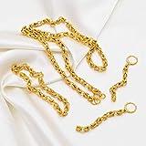 SWAOOS Grosor 5Mm, Longitud 50Cm Collar Pulsera Pendientes Conjuntos para Mujeres África Oro Color Árabe Conjunto Etíope