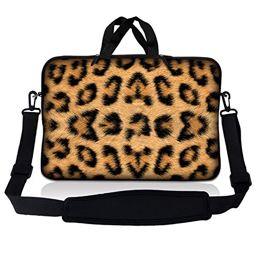 LSS 17-17.3' Laptop Sleeve Bag Compatible with Acer, Asus, Dell, HP, Sony, MacBook and more | Carrying Case Pouch w/ Handle & Adjustable Shoulder Strap,Leopard Print