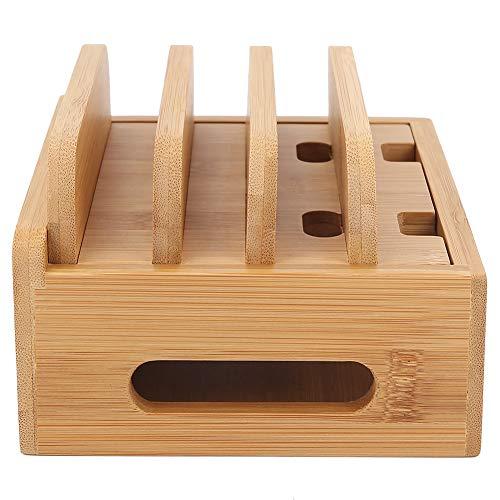 Estación de carga de bambú para múltiples dispositivos, base de acoplamiento de madera Multiuso para teléfonos, tabletas y papelería (Hub, sin cargador USB)