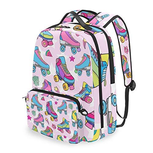 QMIN Rucksack mit buntem Rollschuh-Muster, abnehmbare Schulbüchertasche, Reise, College, Tagesrucksack, Reißverschlussriemen, Tasche, Organizer für Jungen, Mädchen, Damen, Herren